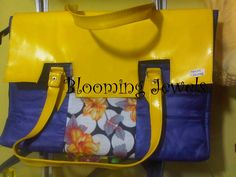 yellow and blue African leather bag
