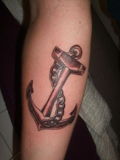 Black Ink Anchor With Chain Tattoo Design For Forearm