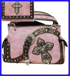 Concealed Carry Gun Purse Western Rhinestone Cross & Buckle Handbag (PINK) - Shoulder bags (*Amazon Partner-Link)