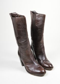 Brown Grained Leather Chanel Round Toe Heeled Mid Calf Boots