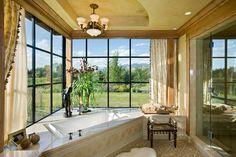 A spacious bath adjoins the Master Bedroom of Old River Farm's Bozeman retreat.