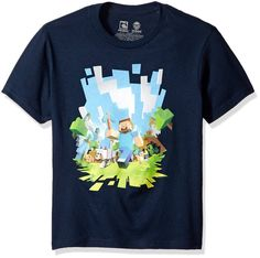 Minecraft Adventure Youth Short Sleeve Blue Tee Shirt . For your little gamer!