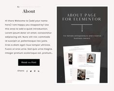 This about page layout is made using the free Elementor Page Builder plugin for WordPress. You can add your own branding, copywriting, photography, and other elements like colors and fonts.  In order for you to use the Elementor Template(s), you will need the following:  A WordPress website Elementor Page Builder plugin for WordPress.