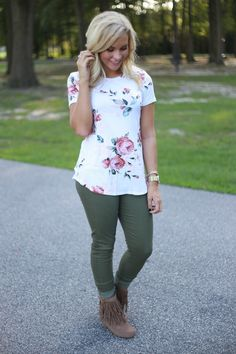 Love these pants. I need some non-black, non-denim pants for work. These would be a great color to add. Not wild about the top, though. It looks too spring-y.