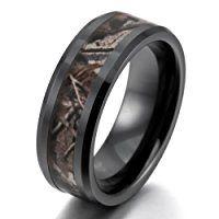 INBLUE Men's 8mm Ceramic Ring Black Brown Hunting Camo Camouflage Comfort Fit Band Wedding