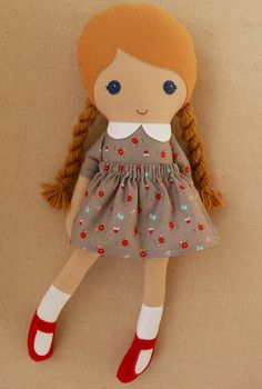 Fabric Doll Rag Doll Blond Haired Girl with Braids in Gray Calico Dress