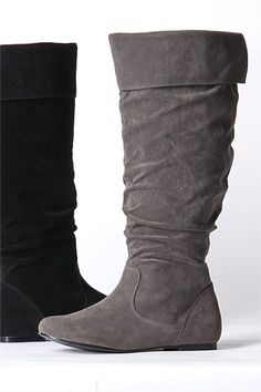 flat round toe high leg boot with buckles - also comes in black ...