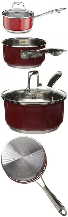 KitchenAid KCS15PLER Stainless Steel 1.5-Quart Saucepan with Lid Cookware - Empire Red