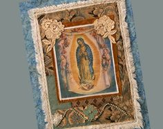 our lady mother virgin mary embroidered fabric upholstery - Google Search