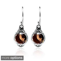 Sterling Silver Bali Faceted Smoky Quartz Dangle Earrings (Indonesia)