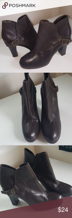 Great Brown leather booties Dark brown leather booties. Great pre-loved condition. Excellent to wear with jeans. Vera Wang Shoes Ankle Boots & Booties