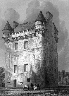 Udny Castle (and twa coos) engraved by Le Keux Scotland Castles, Scottish Castles, Tower House, Castle House, Medieval Houses, Medieval Castle, Travel Around The World, Around The Worlds, Small Castles