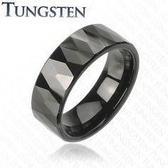 Black Prism - Multi-Faceted Prism Design Black Tungsten Carbide Ring. #BuyBlueSteel #Jewelry