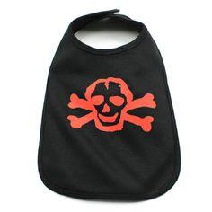 Red Scribble Skull Baby Bib in Color Black