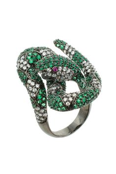 Kenneth Jay Lane, Pave Multicolor CZ Coiled Snake Trend Ring