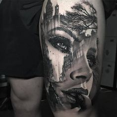 Awesome black and grey tattoo art of morphing girl Face motive done by tattoo ar. - Awesome black and grey tattoo art of morphing girl Face motive done by tattoo artist Chris Showstop - Girl Face Tattoo, Tattoo Girls, Girl Tattoos, Tatoos, Leg Tattoos, Body Art Tattoos, Sleeve Tattoos, Portrait Tattoo Sleeve, Portrait Tattoos