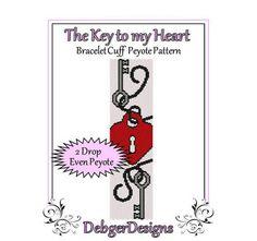 The Key to my Heart - Beaded Peyote Bracelet Cuff Pattern   DebgerDesigns - Patterns on ArtFire