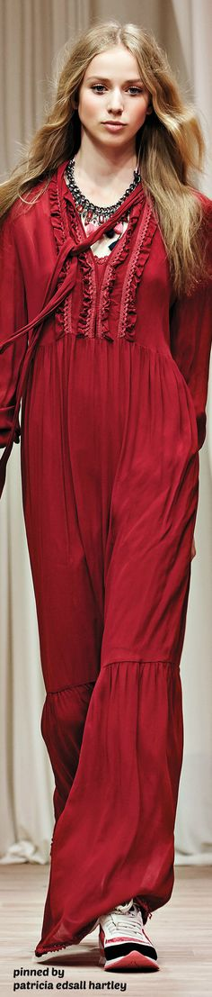 Twin-Set - Precollection SS 2016 burgundy maxi dress women fashion outfit clothing style apparel @roressclothes closet ideas