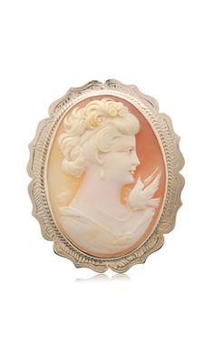 Vintage 9ct rose gold cameo brooch