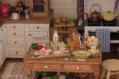 Sunday morning omelet in Kathleen Holmes' dollhouse kitchen.