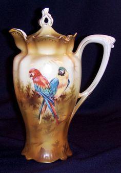 R.S. Prussia Parrots Chocolate Pot