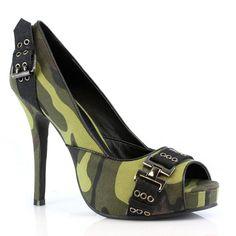 High Heel Peeptoe Camouflage Platform Pump Green Stiletto Heel 423-PFC