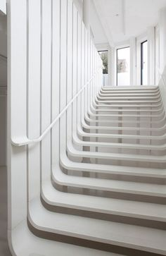 Staircase at pop-up hair salon designed by Zaha Hadid and Fudge for London Design Week