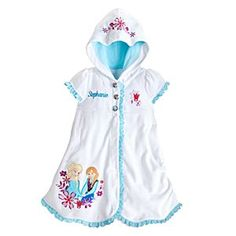 Disney Anna and Elsa Cover-Up for Girls - Personalizable - Frozen | Disney StoreAnna and Elsa Cover-Up for Girls - Personalizable - Frozen - Warm her up after her aquatic adventures with this Frozen Cover-Up for Girls. Anna and Elsa feature on the snow white-colored soft terry blend that's edged in ice blue eyelet trim. Personalize it to make it extra cool.