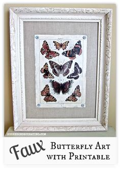 Faux butterfly art tutorial and printable