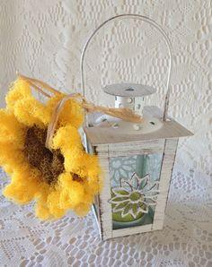 Sunflower Pot Scrubber / Sunflower Lantern Gift Set -Shabby Chic Lantern with Cute Sunflower Pot Scrubber Decor - Gift for Her Shabby Chic Lanterns, Tea Light Lanterns, Crochet Scrubbies, Gifts For Her, Great Gifts, Witch Craft, Shabby Chic Style, Pottery, Candles