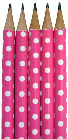 Hot Pink Polka Dot Pencils  Erinnert mich an den tollen Stoff, den ich gestern bestellt habe und zwar in vielen Farben. Ich liebe Punkte