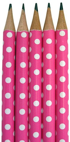 Hot Pink Polka Dot Pencils