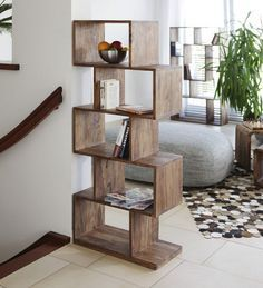 Buy Zig Zag Book Shelf cum Display Unit in Natural Polish by Wood Dekor Online - Contemporary Book Shelves - Book Shelves - Furniture - Pepperfry Product Furniture Design Modern, Furniture Design Living Room, Shelf Furniture, Bookshelf Design, Furniture Decor, Home Decor, Shelf Design, Furniture Design, Home Decor Furniture