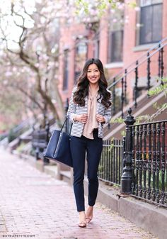 navy, peach + stripes for work // new sloan fit pants | Extra Petite | Bloglovin'