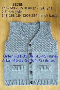 Erkek bebek yeleği Vest Pattern, Crochet Kids Hats, Crochet For Boys, Knitting For Kids, Baby Knitting, Baby Vest, Baby Cardigan, Layette, 6 Ay