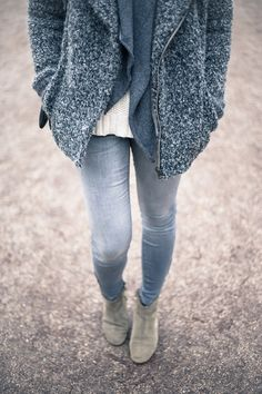 Blueish Grey Boucle Jacket and Cardigan, White Sweater, Light Denim Skinnies and Suede Booties
