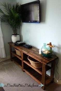 DIY Rustic Console Table | Do It Yourself Home Projects from Ana White