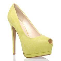 yellow peep-toe heels