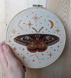 After what feels like a zillion years, I finally finished this moth pattern from Emillie Ferris! Embroidery Art, Cross Stitch Embroidery, Embroidery Patterns, Machine Embroidery, Print Patterns, Luna Moth Tattoo, Moth Tattoo Design, Love Bugs, Holiday Crafts