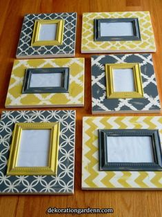Items similar to Set of 6 distressed Chevron and Moroccan grey and yellow Frame collage - and on Etsy - Set of 6 distressed Chevron and Moroccan grey and yellow Frame collage – and - Fabric Wall Art, Diy Wall Art, Diy Wall Decor, Framed Fabric, Picture Frame Decor, Wood Picture Frames, Yellow Picture Frames, Frame Crafts, Diy Frame