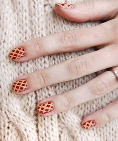 Paint your digits with a pie nail art design for Thanksgiving.
