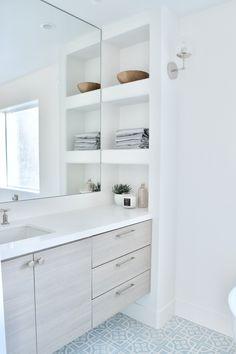 built in shelves vanity white blue tile polished nickel faucet and hardware Bathroom Built Ins, Built In Bathtub, Bathroom Niche, Bathroom Renos, Bathroom Renovations, Bathroom Storage, Small Bathroom, Floating Bathroom Vanities, Decorating Bathroom Shelves