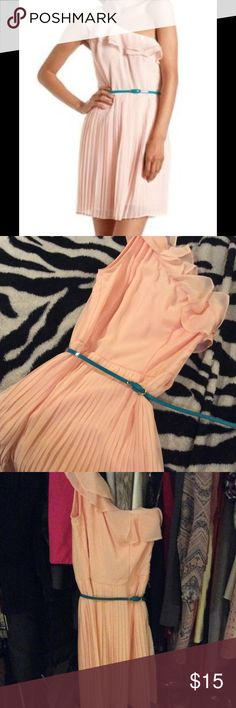 Light Pink One-Shoulder Ruffle Pleated Dress Such a gorgeous pick! Pleats are romantic and green belt gives it a pop! Perfect condition!❤️ Charlotte Russe Dresses One Shoulder