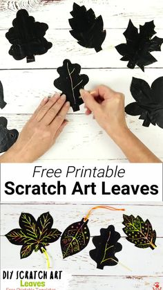 DIY Scratch Art Leaves- DIY SCRATCH ART LEAVES are gorgeous! This Fall craft is easy to make with our free printable templates and so colourful and vibrant! A lovely leaf art idea for Fall and Thanksgiving. Informations About DIY Diy Crafts For Kids Easy, Fun Diy Crafts, Kids Crafts, Easy Diy, Kids Diy, Autumn Leaves Craft, Autumn Crafts, Fall Leaves, Thanksgiving Arts And Crafts