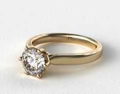 18K Yellow Gold Intricate Basket Solitaire Engagement Ring