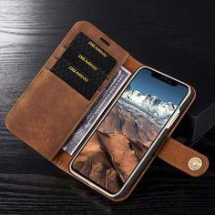 8f03cb1b439 Hoesje voor Apple IPhone X en iPhone XS, DG.Ming 2-in-1 wallet case, cognac  bruin