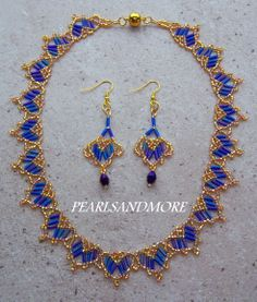 bugle and seed bead necklace and earring set