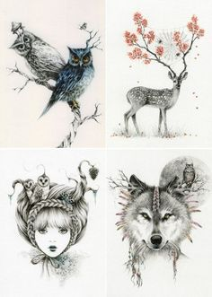 """Her drawings are influenced by Victorian, ghost stories, old photographs, daydreams and nightmares. Working with pencils, Courtney creates dreamy worlds of lost girls and bewildering creatures, fo"