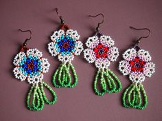 delicate seed bead flower earrings cherry blossoms &