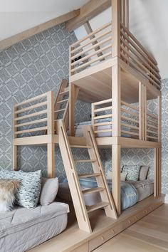Oak Bunk Beds, Bunk Bed Rooms, Bunk Beds Built In, Built In Bench, Custom Bunk Beds, Bedrooms, Amber Interiors, Living Room Windows, Shabby Chic